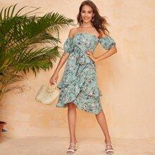 Off Shoulder Self Belted Ruffle Hem Floral Dress