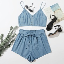 Plus Button Front Denim Cami Top And Paper Bag Waist Shorts Set