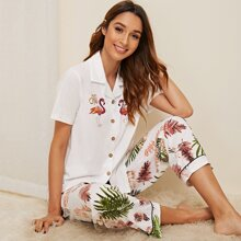 Flamingo & Tropical Print Pajama Set