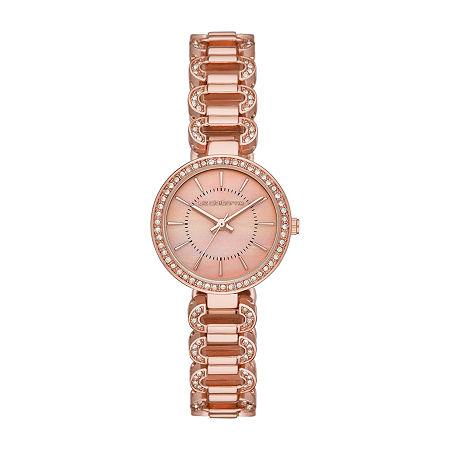 Liz Claiborne Womens Crystal Accent Rose Goldtone Bracelet Watch-Lc1381t, One Size , No Color Family