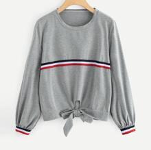 Ubergrosser Pullover mit Knoten vorn und Streifen