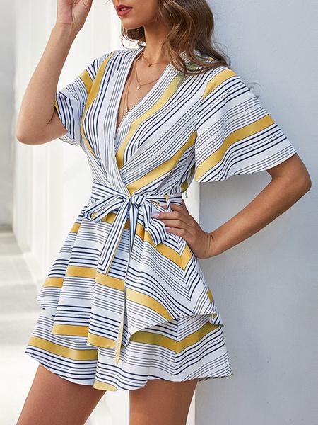 Milanoo Rayas azules con cuello en V mangas cortas con cordones poliester en capas ancho verano mono