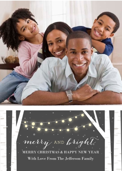 Christmas Photo Cards 5x7 Cards, Premium Cardstock 120lb with Scalloped Corners, Card & Stationery -Birch Tree Lights