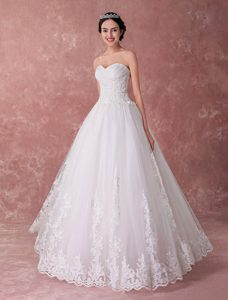 Milanoo Princess Wedding Dresses Strapless Ball Gowns Lace Sweetheart Beading Luxury Bridal Dress