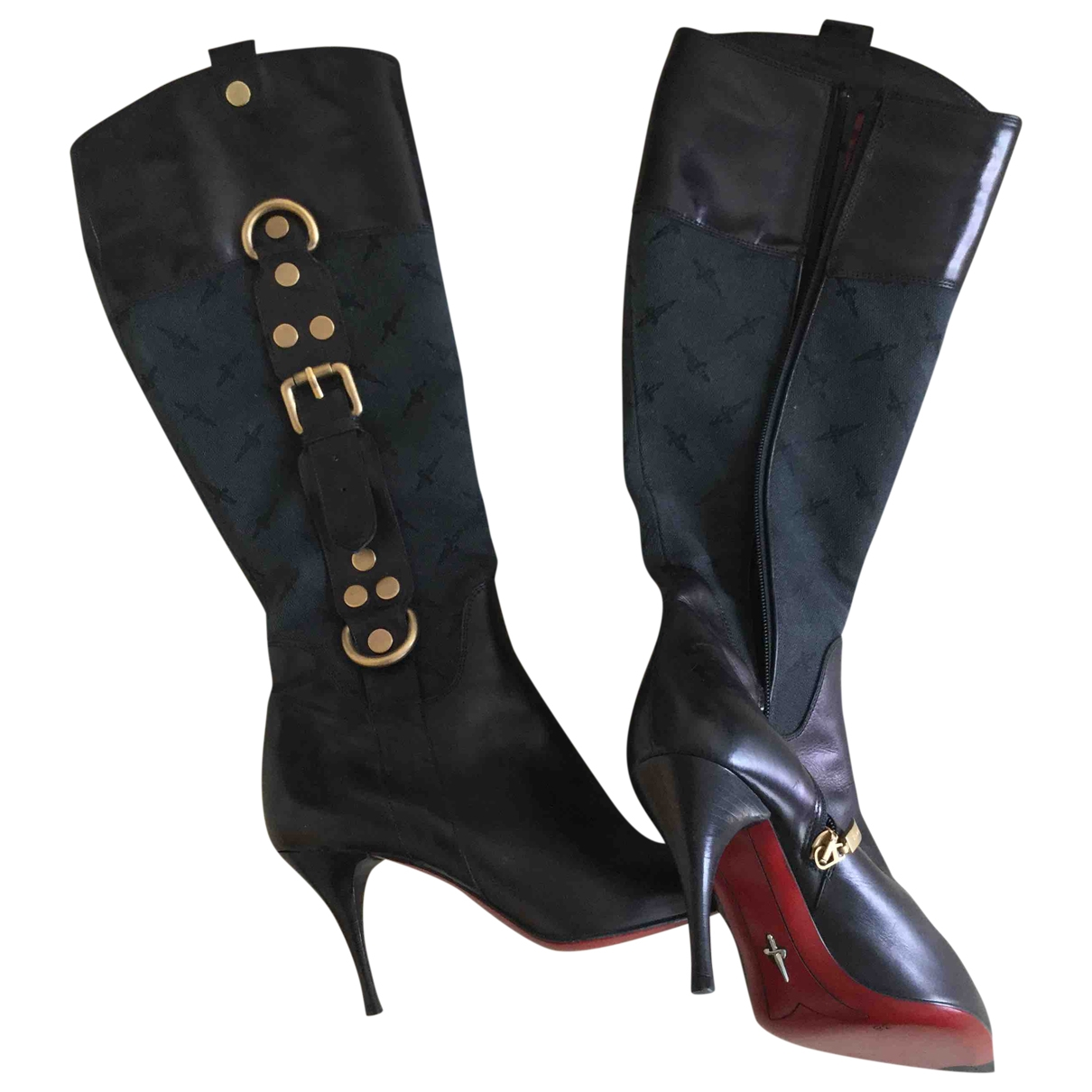 Venise Collection \N Black Leather Boots for Women 38 EU