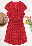Polka Dot Drawstring Mini Dress - Red