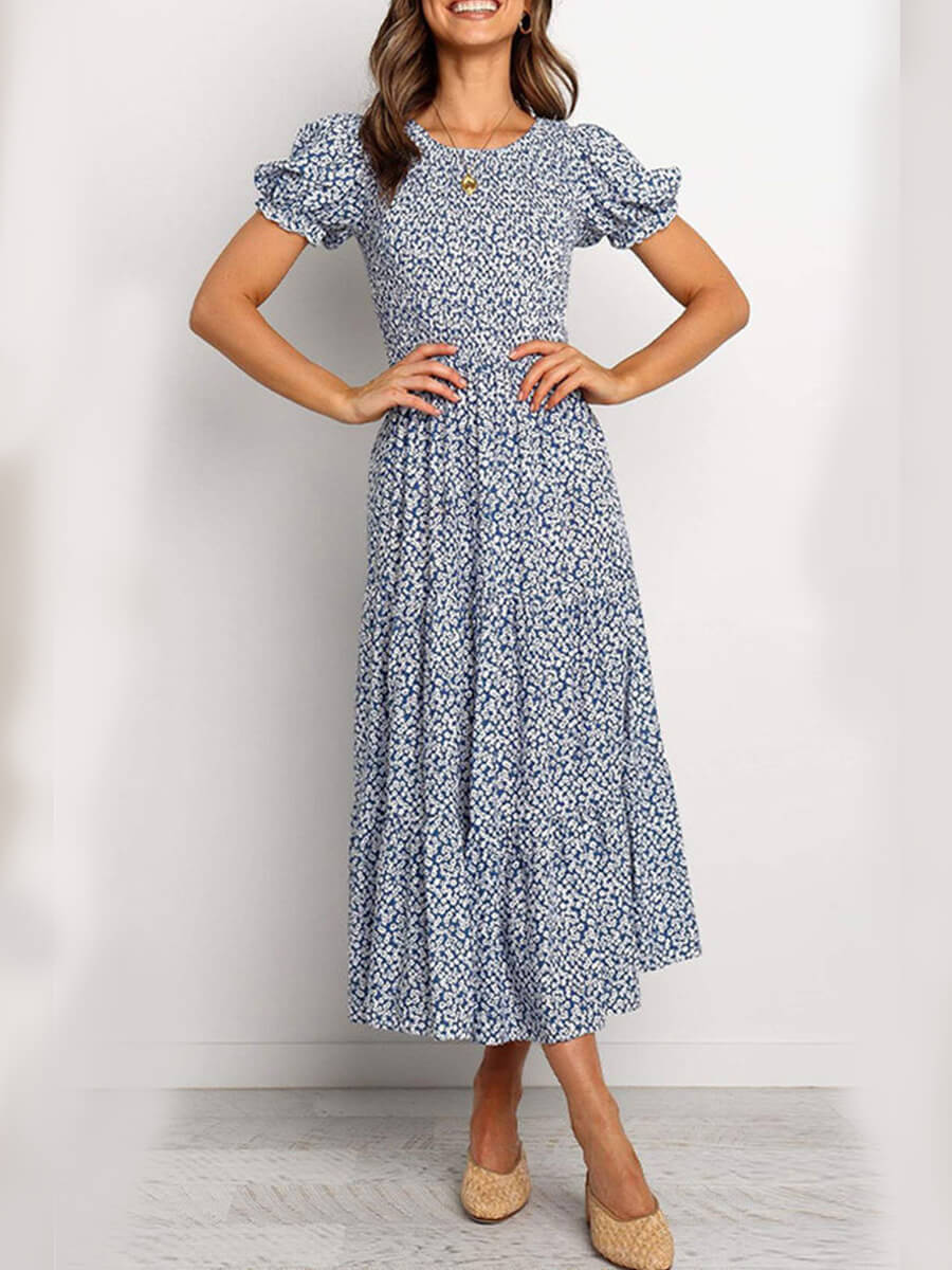 LW Lovely Chic V Neck Floral Print Blue Mid Calf Dress