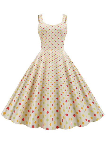 Milanoo Vintage Dress 1950s Polka Dot Sleeveless Woman Swing Dress