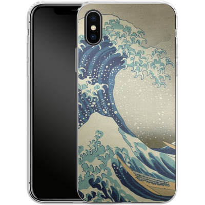 Apple iPhone X Silikon Handyhuelle - Great Wave Off Kanagawa By Hokusai von caseable Designs