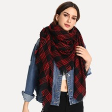 Frayed Trim Plaid Scarf