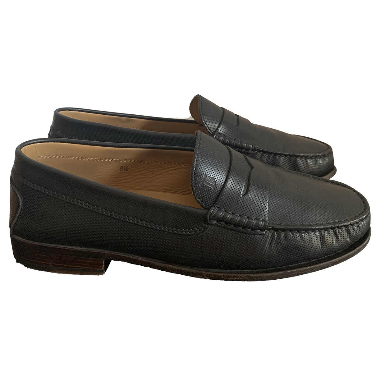 Tod's \N Black Leather Flats for Men 8.5 US
