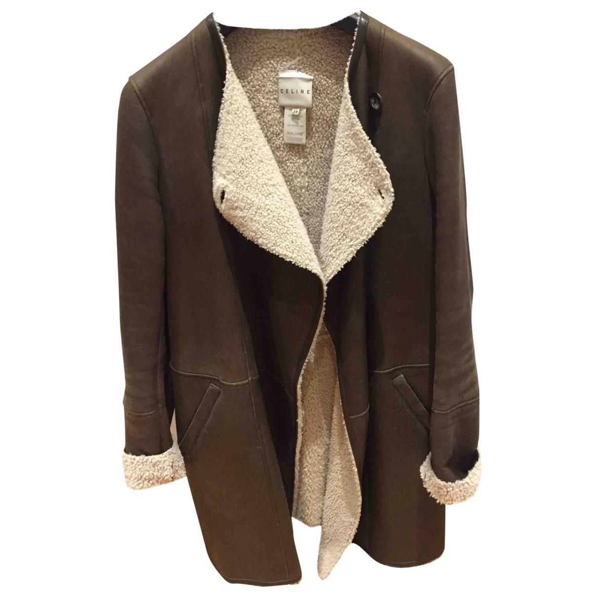 Celine - Manteau   pour femme en cuir - marron