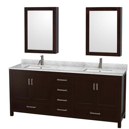 WCS141480DESCMUNSMED 80 in. Double Bathroom Vanity in Espresso  White Carrera Marble Countertop  Undermount Square Sinks  and Medicine