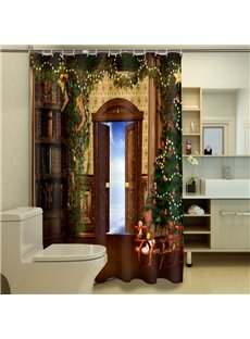 Fabulous Cozy Room with Christmas Tree Pattern 3D Shower Curtain