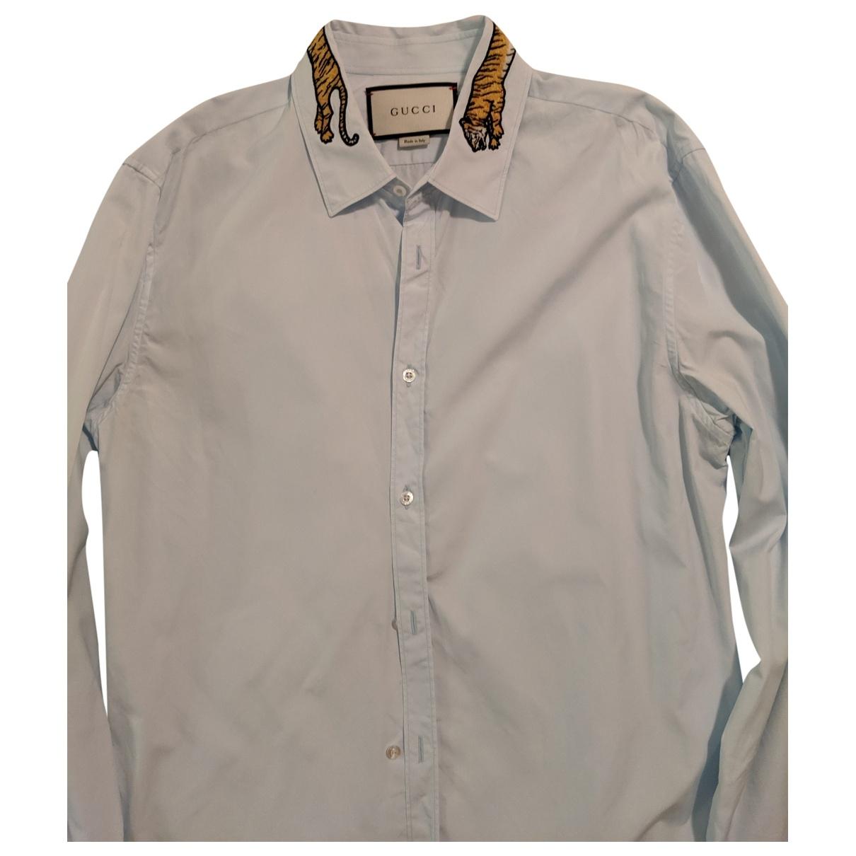 Gucci \N Blue Cotton Shirts for Men 41 EU (tour de cou / collar)