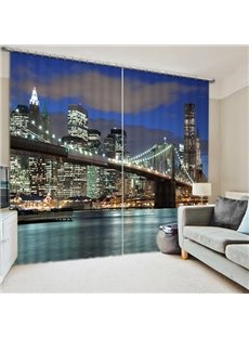 3D New York Bridge Night Scenery Printed Thick Polyester Blackout and Decorative Curtain