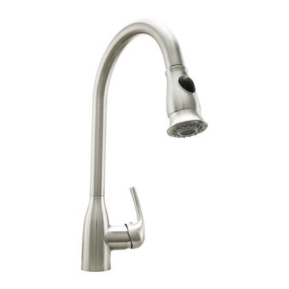 COS-KF776SS Pull Down Single Kitchen Faucet with Pull Down Sprayer  Stainless Steel Braided Hose  Ceramic Disc Valve and Brass Construction  in