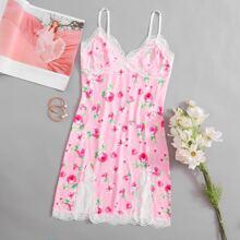 Lace Trim Floral Print Dress