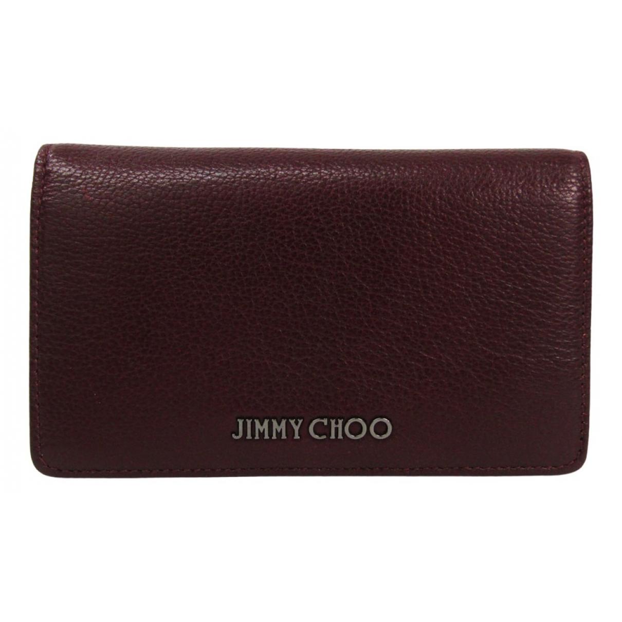 Jimmy Choo - Portefeuille   pour femme en cuir - bordeaux