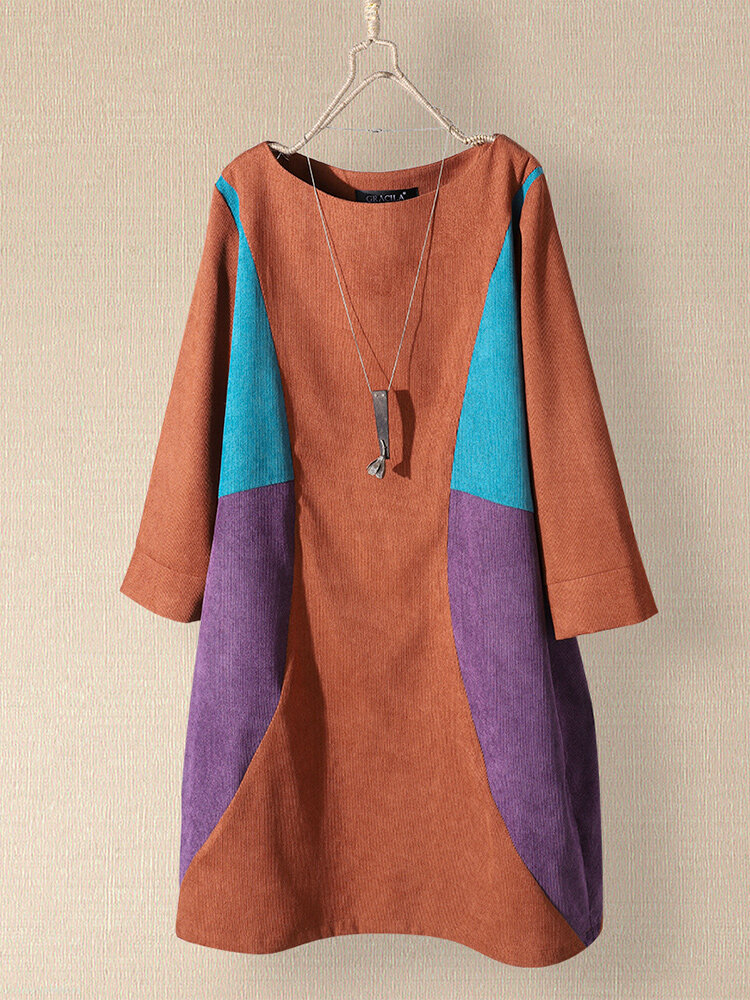 Contrast Patch Color Corduroy Pockets Long Sleeve Vintage Dress