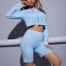 Drawstring Crop Hoodie With Track Shorts