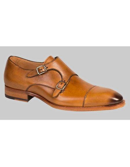 Mens Honey Italian Calfskin Double Buckle Cap Toe Leather Shoes Brand