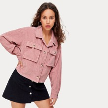 Collared Buttoned Front Pocket Patched Cord Jacket
