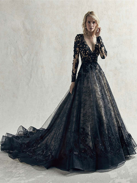 Milanoo Black Wedding Dresses Lace Princess Silhouette Long Sleeves Natural Waist Lace Court Train Bridal Gown