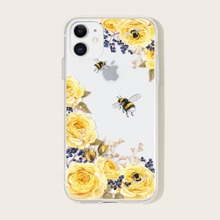 1 pieza funda de iphone con estampado de flor
