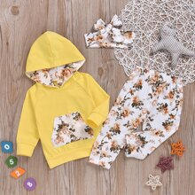 Hoodie mit Blumen Muster, Kaenguru Taschen und Hose