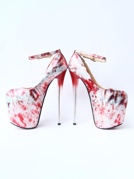 Milanoo Plataforma de las mujeres zapatos de tacones altos cuadrado de oro del dedo del pie zapatos atractivos Impreso