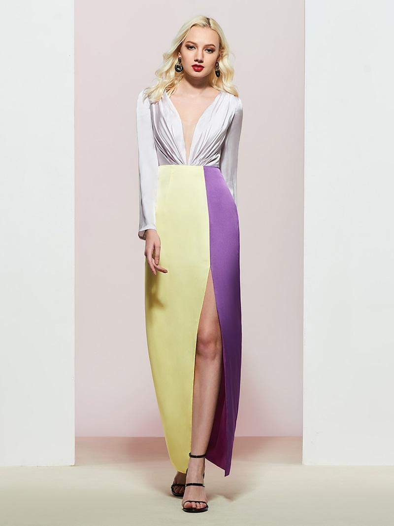 Sheath V-Neck Split-Front Evening Dress