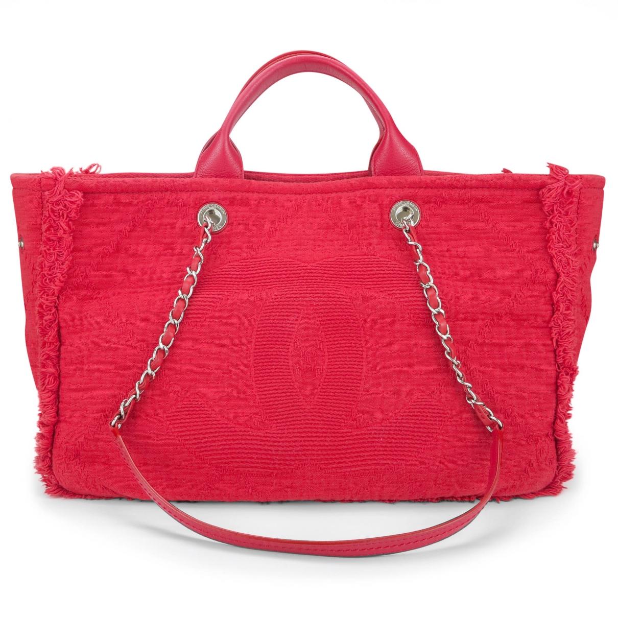 Chanel - Sac a main Deauville pour femme en toile - rouge