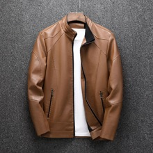 Guys PU Leather Zip-up Solid Jacket