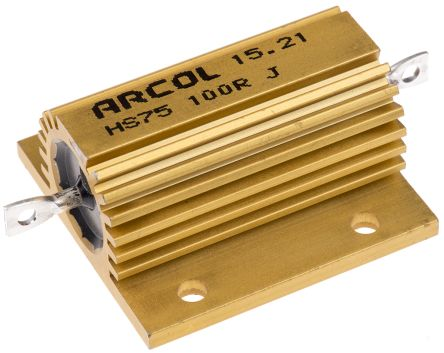 Arcol HS75 Series Aluminium Housed Axial Wire Wound Panel Mount Resistor, 100Ω ±5% 75W