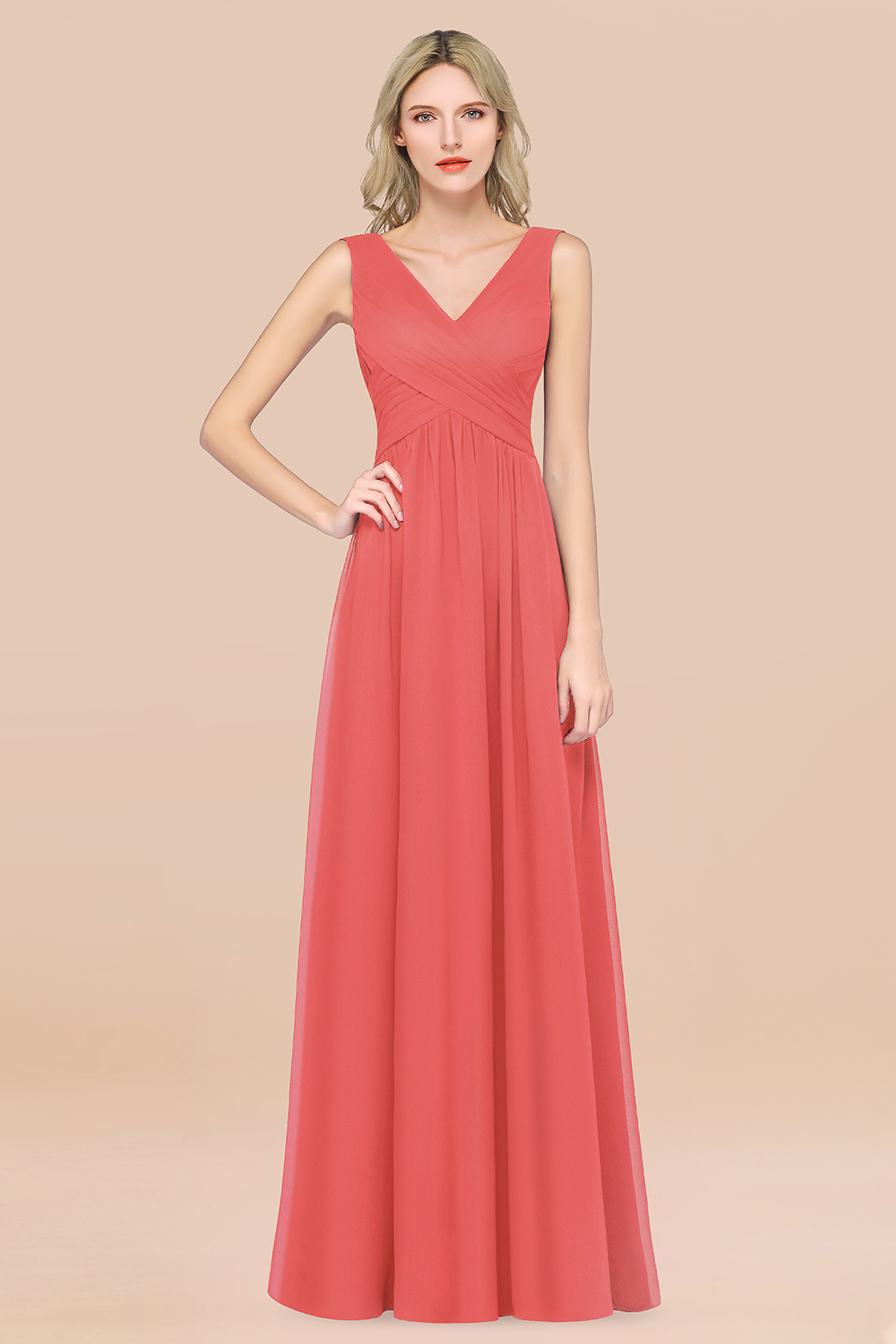BMbridal Glamorous Chiffon V-Neck Sleeveless Burgundy Bridesmaid Dress with Draped Back