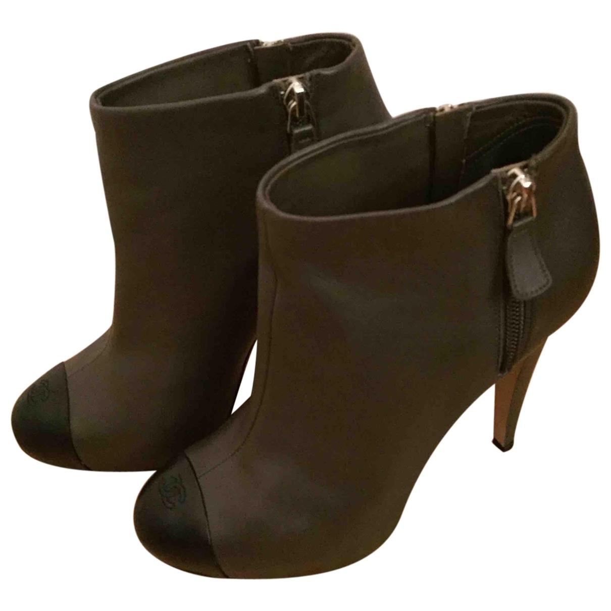 Chanel - Boots   pour femme en cuir - kaki