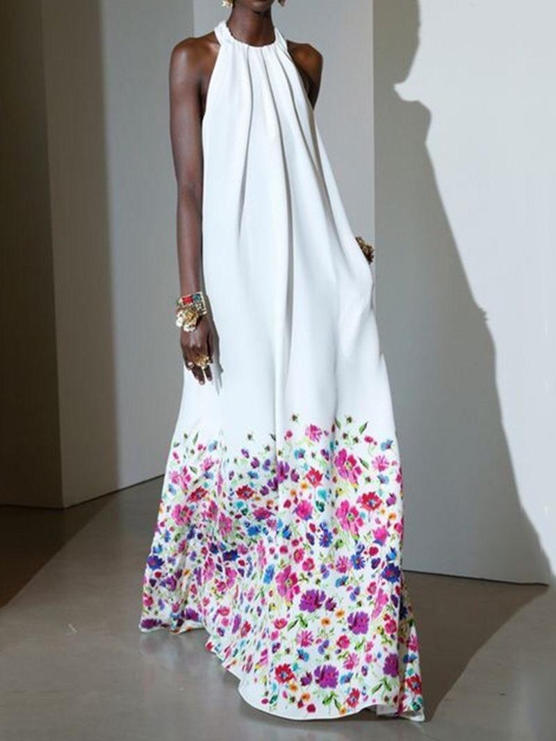 Ericdress Floor-Length Print Sleeveless Halter High Waist Women's Dress