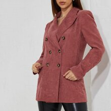 Notched Collar Double Breasted Cord Blazer