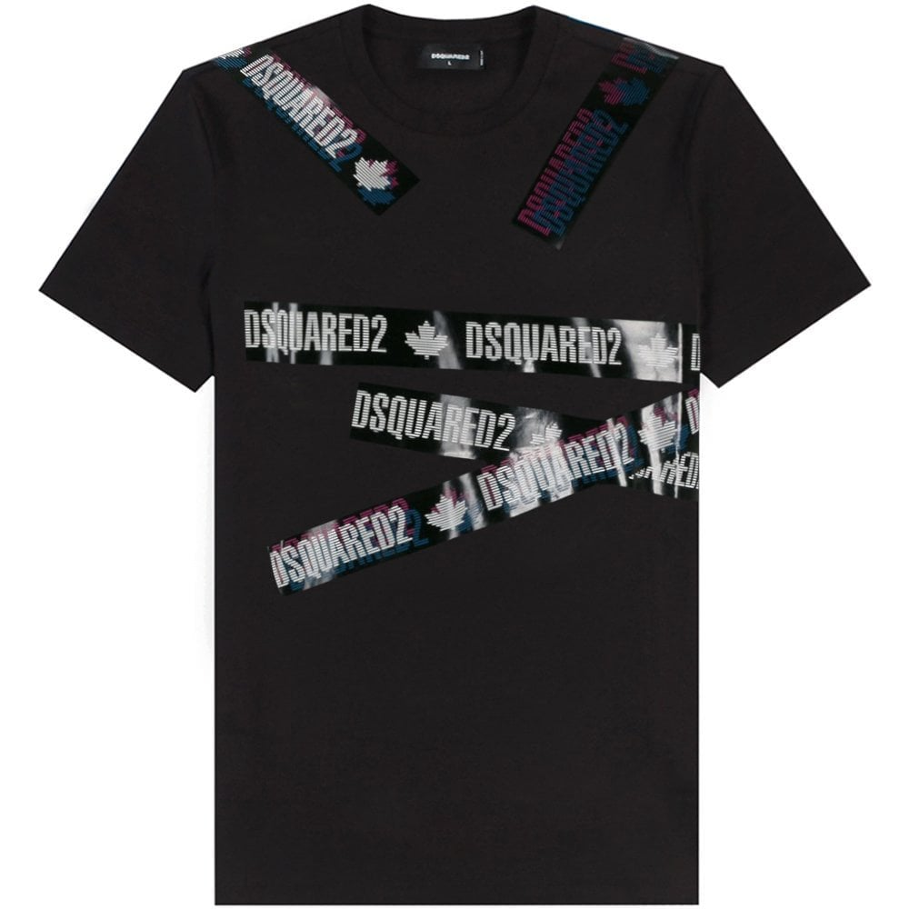 DSquared2 Tape Logo T-Shirt Colour: BLACK, Size: EXTRA LARGE