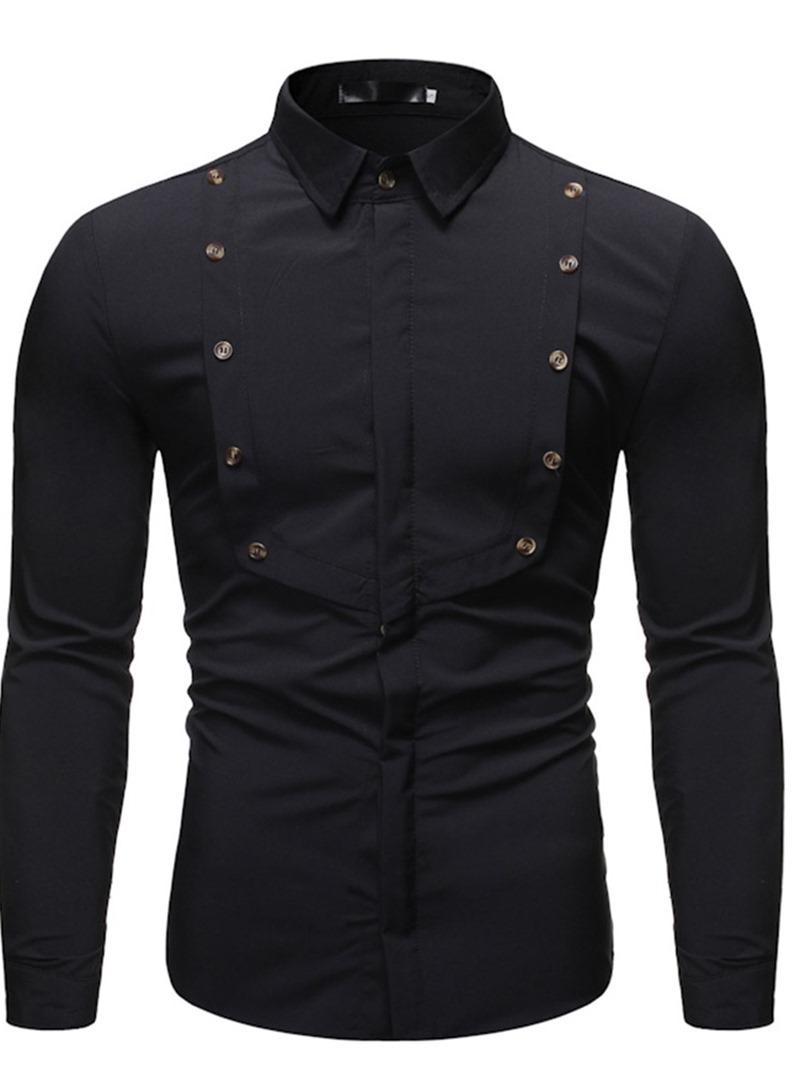 Ericdress Button Lapel Fashion Slim Single-Breasted Men's Shirt