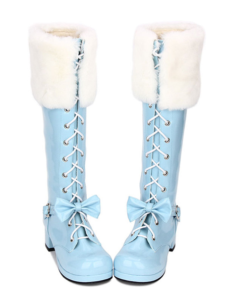 Milanoo Sweet Lolita Boots Faux Fur Lace Up Bow Chunky Heel Blue Lolita Thigh High Boots