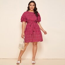Plus Layered Sleeve Belted Ditsy Floral Dress
