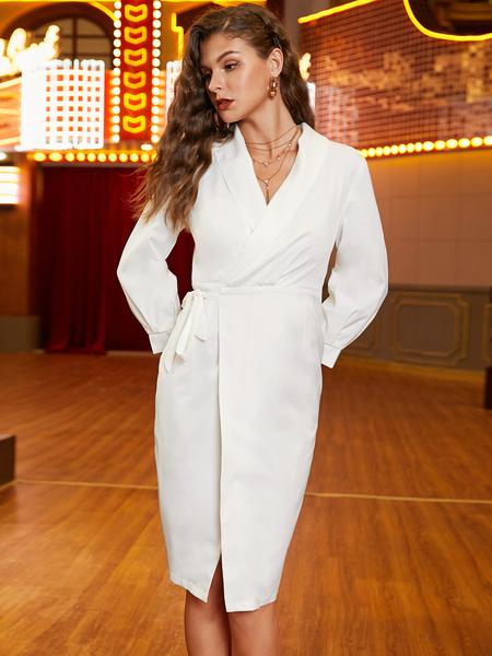 YOINS White With Belt Wrap Design Dress