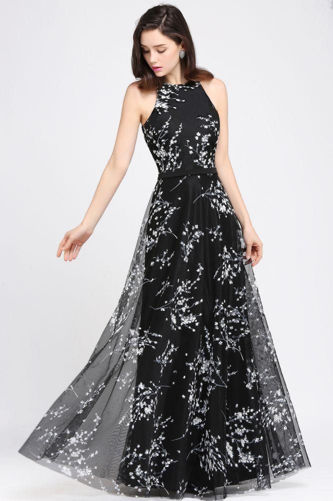 ALYSSA | Robes de soiree noires A-line avec des fleurs