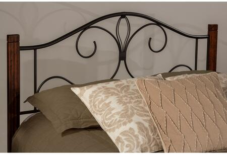Destin Collection 2220HKRC King Size Headboard with Rails  Open-Frame Panel Design  Decorative Metal Scrollwork and Solid Wood Posts in Brushed
