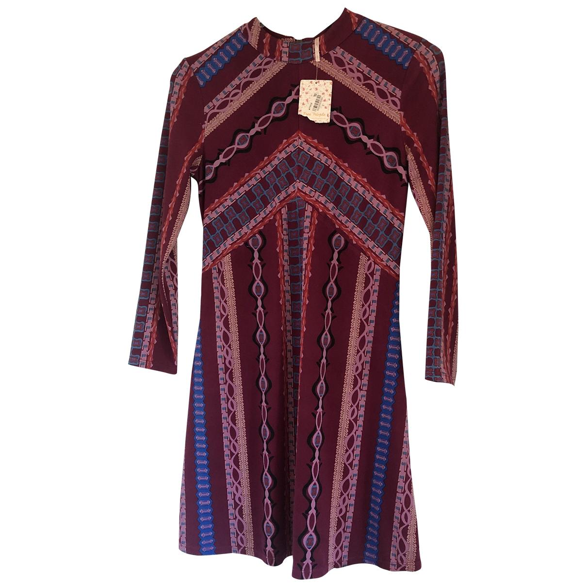 Free People \N Kleid in  Bordeauxrot Polyester