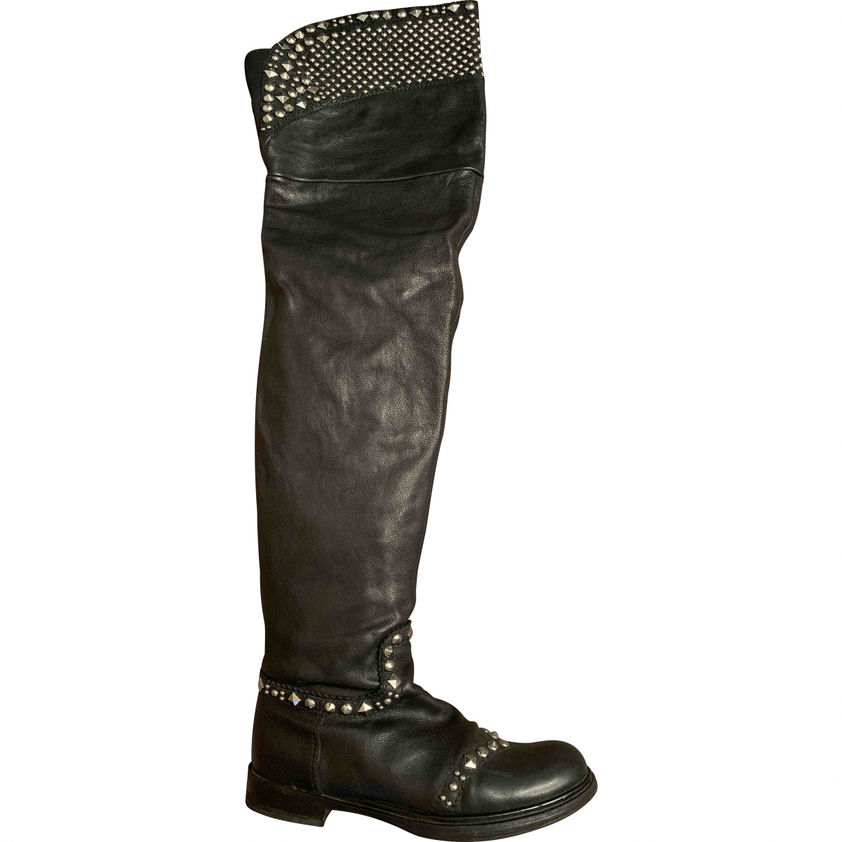 Miu Miu \N Black Leather Boots for Women 38 EU