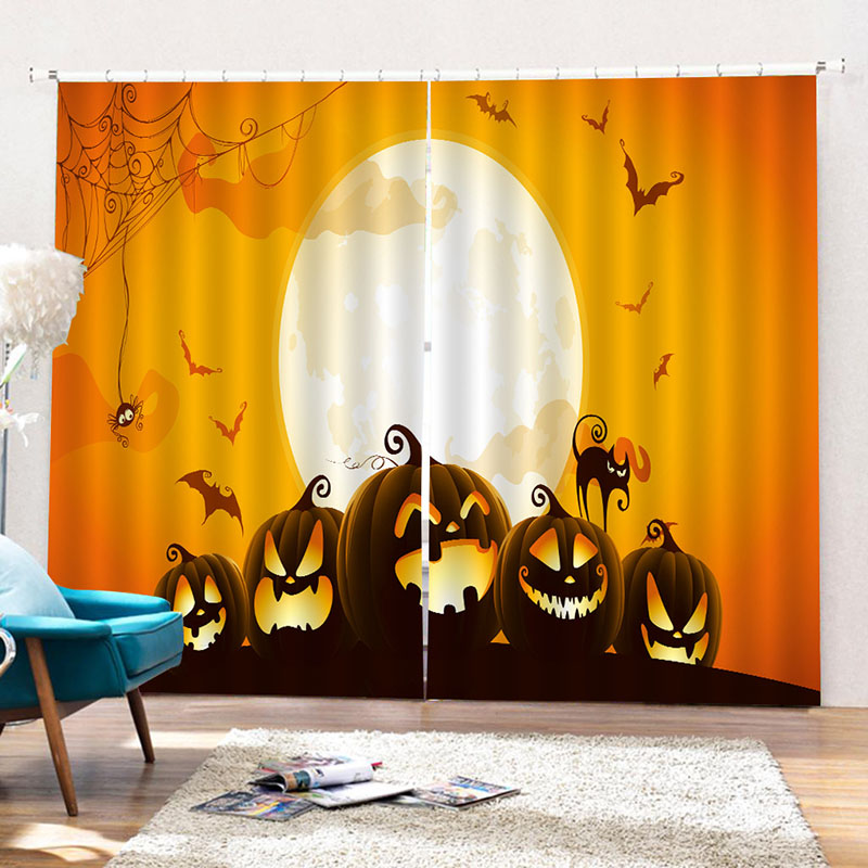 3D Halloween Cartoon Creative Printed Blackout Decoration Window Curtains Custom 2 Panels Drapes No Pilling No Fading No off-lining
