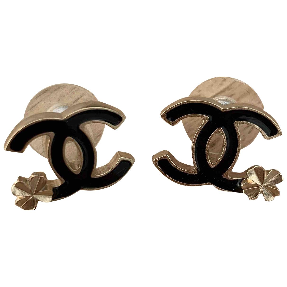 Chanel - Boucles doreilles CC pour femme en metal - noir
